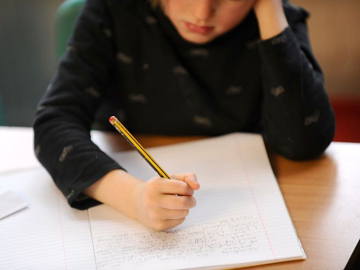 A primary school child writing (29155380)