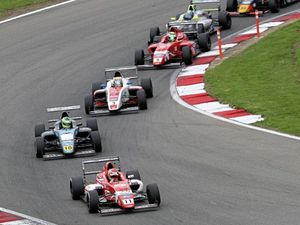 Seb Priaulx's No. 11 Arden International car at the front at Brands Hatch Indy.                  (Pictures by Jakob Ebrey Photography)