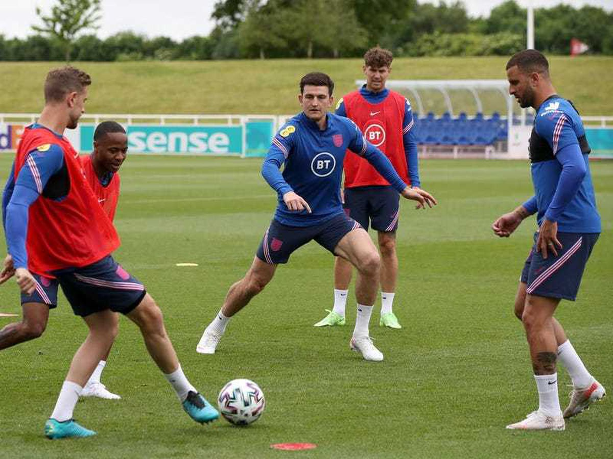 Harry Maguire takes part in England's training session