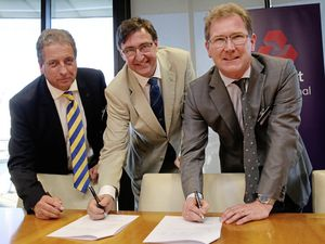 You can bank on it: Signing up for 2021 at Royal Bank House, from left – Rob Girard, Jorgen Pettersson and Andrew McLaughlin, CEO of RBS International. (Picture by Adrian Miller, 21229744)