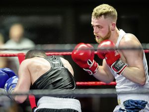 Gage Baker hunts down Liverpool's Joseph Moylan at St Pierre Park. (Picture by Andrew Le Poidevin, 27059433)