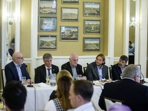 The panel at yesterday's Chamber lunch at OGH. (Picture by Peter Frankland, 30099690)