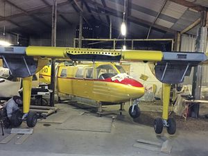 The 1967 Islander was reassembled at the Britten-Norman Aircraft Preservation Society workshop before it was moved,