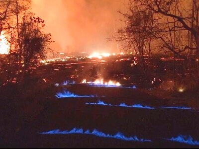 Hawaii volcano produces methane and eerie blue flames