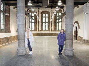 Bailiwick Estates Property management assistant Sophie Streeter, left, and managing director Sonia Taylor in the former flower market and HMV premises which will host Christmas market stalls. (Picture by Adrian Miller, 26551622)