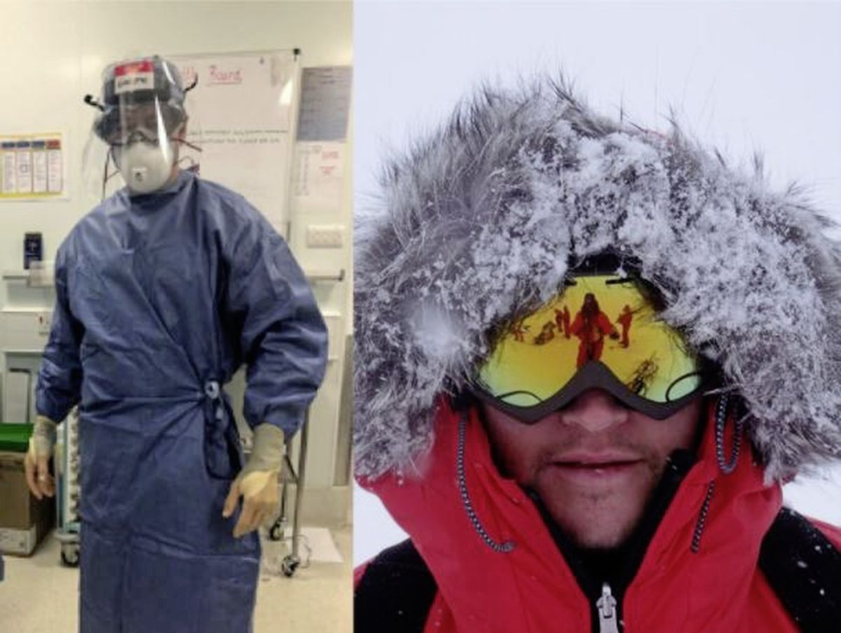 Dr Gareth Andrews in full PPE in Wales where he works as a consultant anaesthetist for the NHS, left, and in full expedition gear. (28801630)