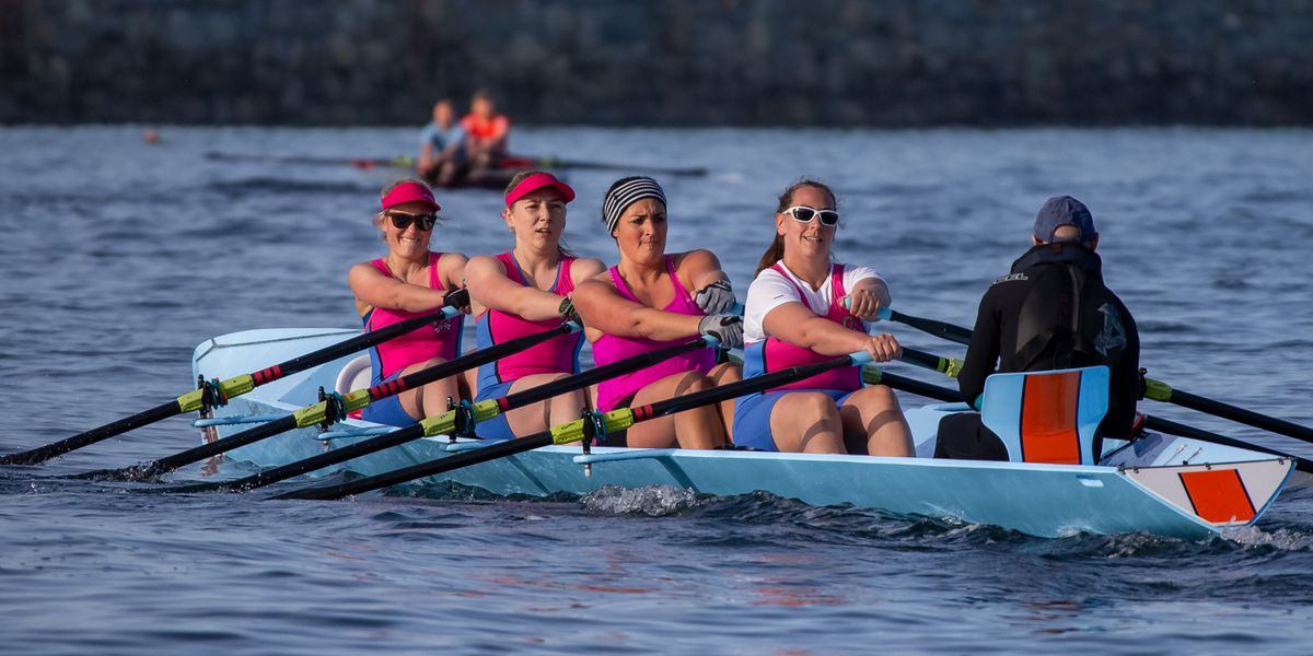 Pulling power: The superb Le Mont Saint women's quad crew in a recent race. (Picture by Martin Gray, 29616755)