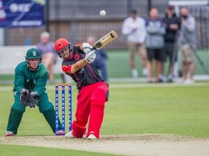 190615 Craig Meschede hits a stright six .ICC Men's T20 World Cup Europe Final 2019 in Guernsey. Guernsey v. Germany at KGV, 15-06-19. Picture by Martin Gray. (27009484)