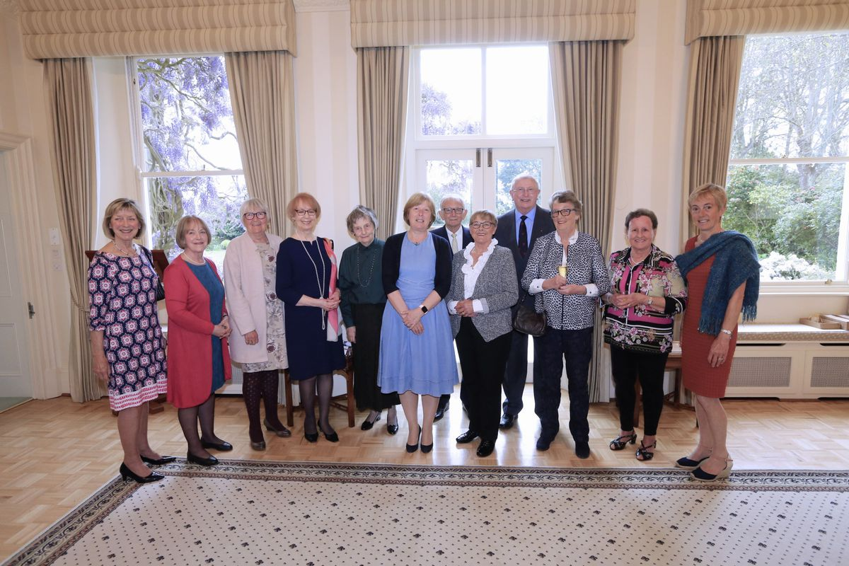 Award recipients at the Government House ceremony for the Guernsey Voluntary Service. Pictured are, left to right, Vivien Hawkins, Pamela Reeve, Val Kilby, Sandra Hardhill, Lady Carey, Lady Corder, John McLean, Lesley Perchard, Paul Davis, Susan Sampson, Caley Allen and Clare de la Rue.