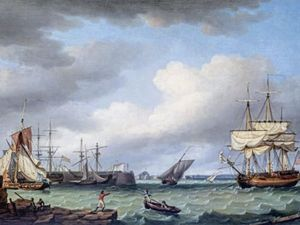 Jersey Pier with a distant view of Elizabeth Castle by Thomas Whitcombe. (28794735)