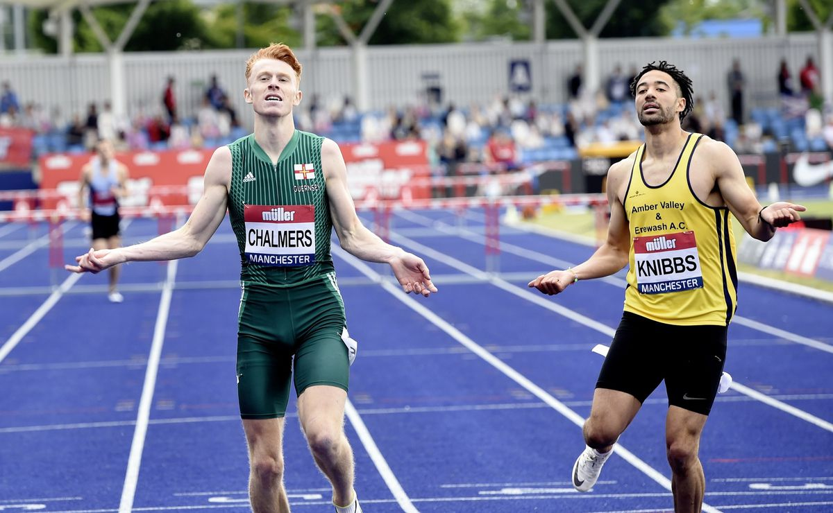 Repeat champion: Alastair Chalmers holds off the challenge of Alex Knibbs to take a second 400m hurdles title. (Picture by Mark Shearman, 29700587)