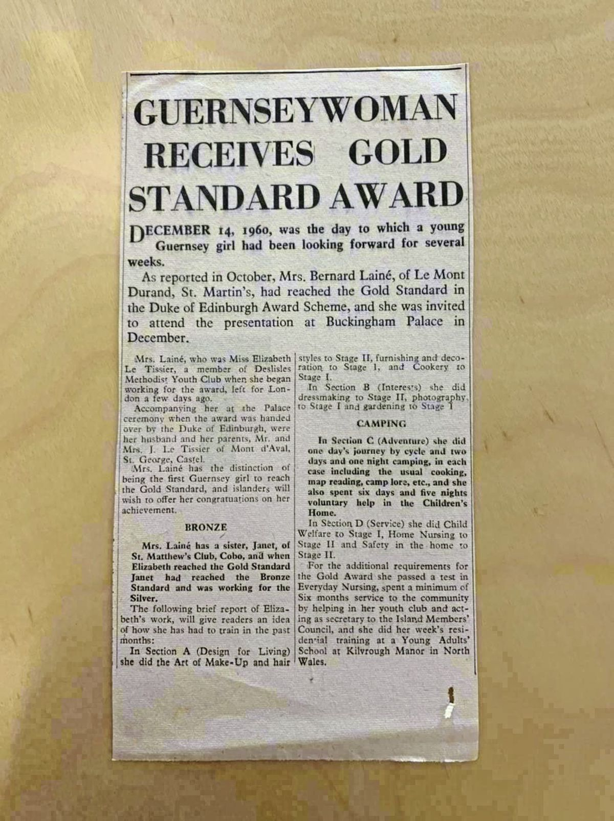 A Guernsey Press newspaper clipping announcing Elizabeth Laine [nee Le Tissier] was the first person in the Bailiwick to achieve the gold Duke of Edinburgh award. (29447237)