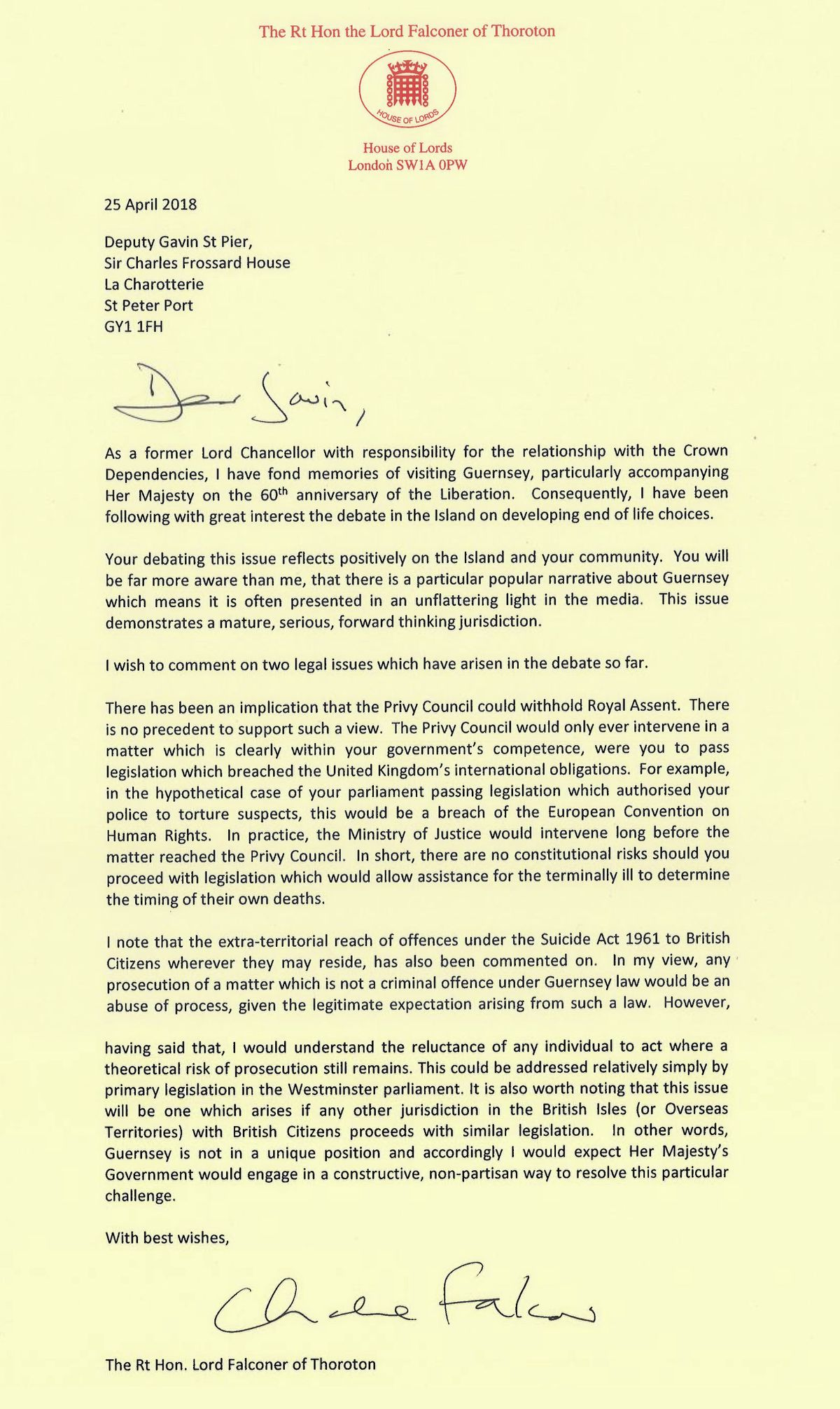 Letter to Gavin St Pier from Lord Falconer on assisted dying. (21353058)