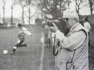 John Brenton on his last assignment before retiring photographing Port City v Sylvans 28th Nov 1994. (Picture by Chris George, 26936435)