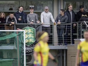 Guernsey Raiders rugby squad members (from left to right) Doug Horrocks, Matt Thomas, Luke Sayer, Lewis Hillier, Blair Campbell, Joe Andresen and Courtney Raymond enjoy what was already scheduled to be a weekend off watching the Panthers v. Colombians-Puffins women's hockey match at Footes Lane on Saturday. (Picture by Martin Gray, 27477122)