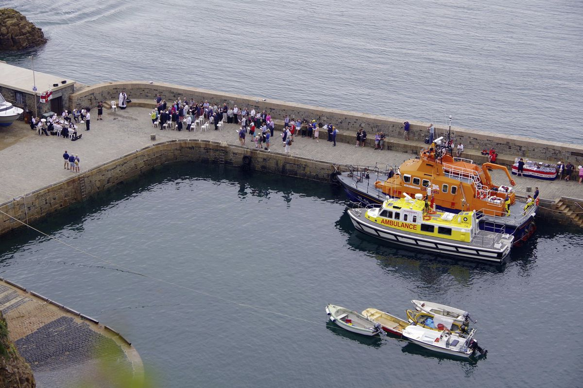 St Peter Port's all-weather Severn class lifeboat, Spirit of Guernsey, and St John Ambulance's Flying Christine III were blessed at Sark's annual service of the sea. (Picture by Tony Rive)