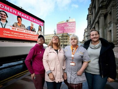 Workers help launch advert for equal pay ahead of strike