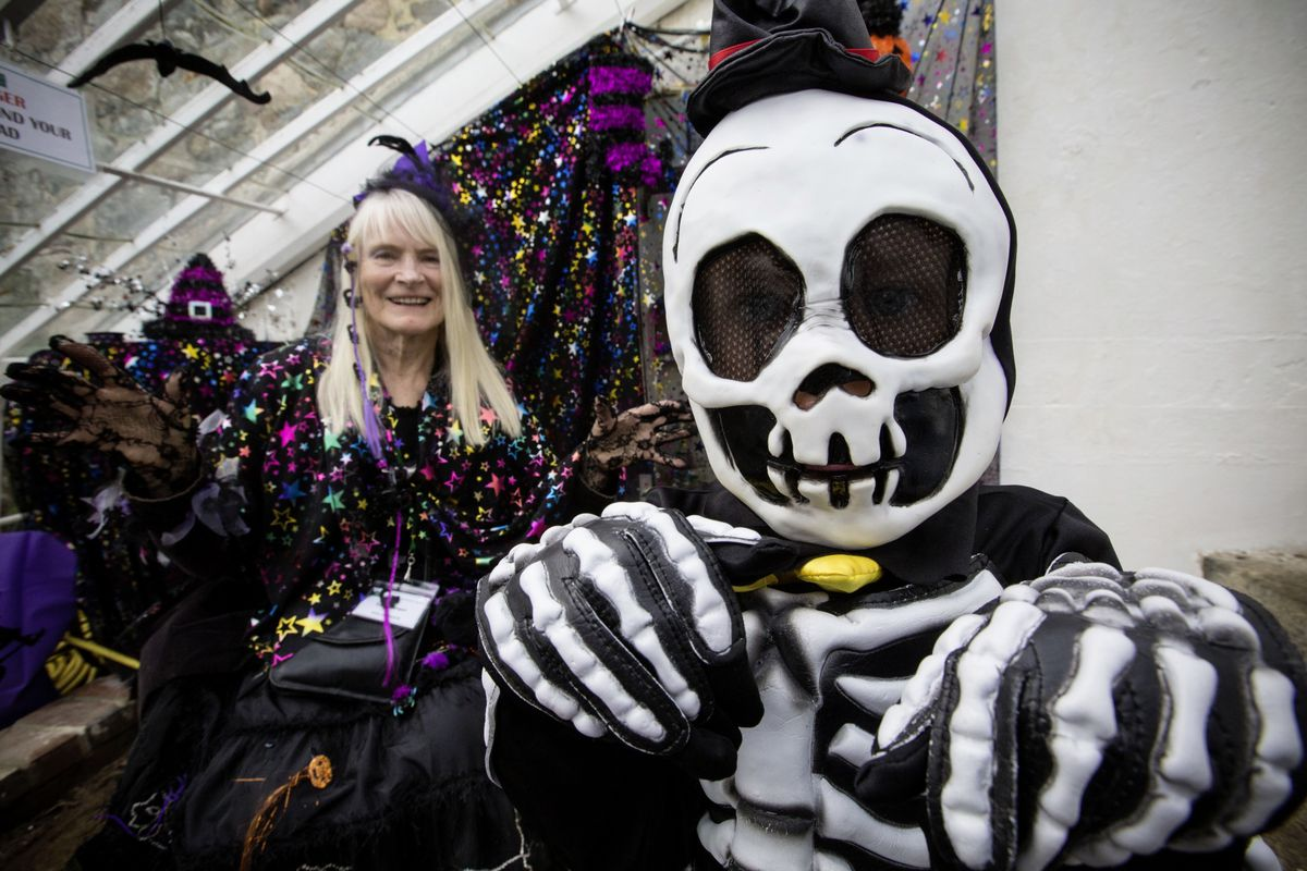 Cathy Morgan, the PR organiser for the Victorian Walled Kitchen Garden  with Louis Jones, 4, as a skeleton. (28835388)