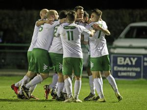 FOOTBALL Isthmian South East - Three Bridges v. Guernsey FC, 28-01-20. GFC. Steve Renouf is mobbed by his teammates after scoring the second goal..Picture by ESA Photos. (27015137)