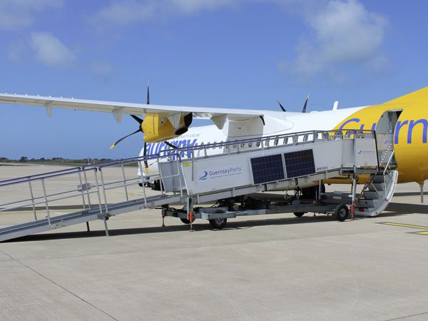 One of the two Aviramp Lite ramps purchased by Guernsey Ports positioned against the door of one of Aurigny's ATRs.