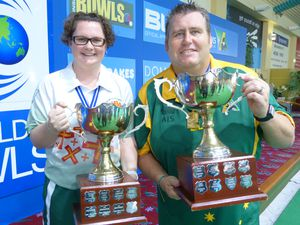 Happy days: A year ago and at the Warilla Club in New South Wales, Australia. Lucy Beere wins the women's singles gold medal. Alongside her is the men's champion Jeremy Henry of Australia. 