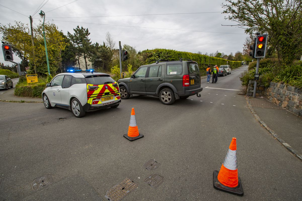 Guernsey Police closed both ends of Rectory Hill, Castel, on Monday following a collision between a motorbike and a bus. (29519468)