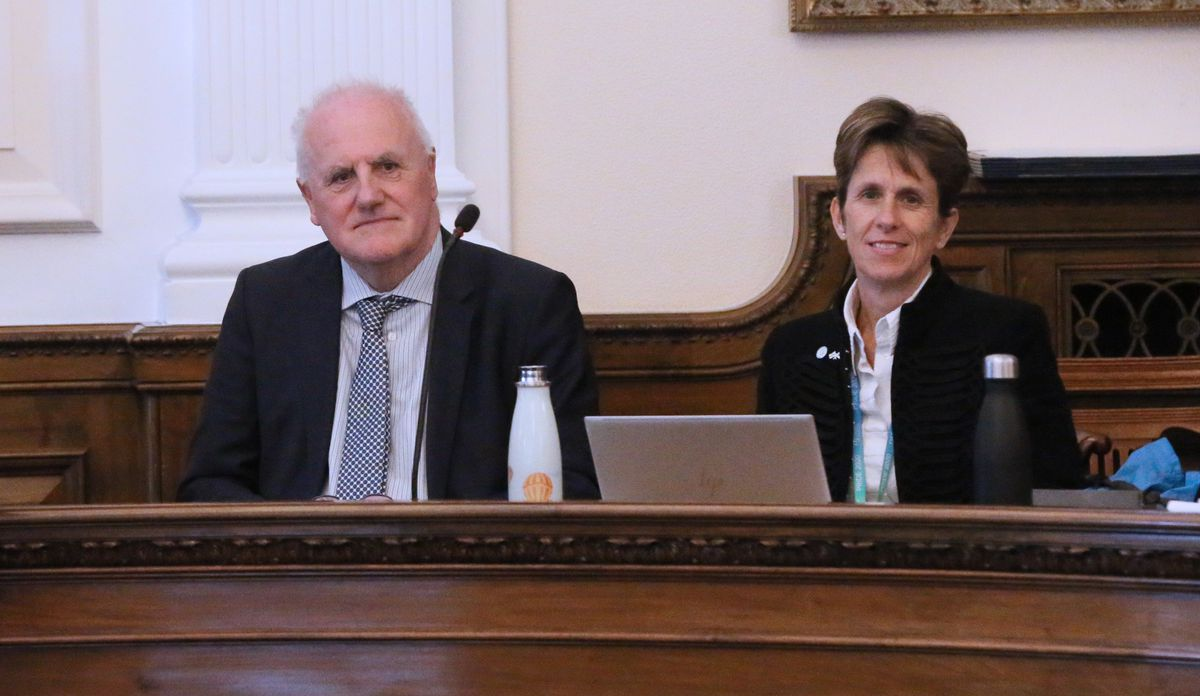 States meeting in the Royal Court chamber - New president of Policy & Resources Peter Ferbrache and Vice-President Heidi Soulsby. (28905563)