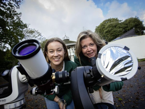 La Societe Guernesaise's Astronomy Section has two new specialised solar telescopes to be used at the Astronomy Section HQ once the new telescope building is ready. Education conservation assistant Sarah Allez, left, and Education conservation leader Becky Ogier.         (Picture by Peter Frankland, 30108593)