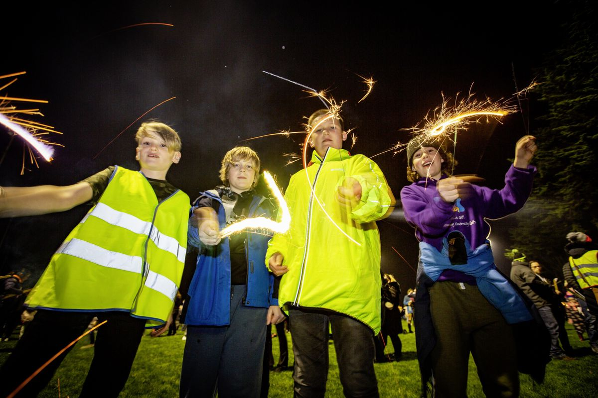 PICTURE BY SOPHIE RABEY.  05-11-20.  Bonfire Night Celebrations at Northfield..L-R Seb Steer (10), George Bennett (13), Ethan Dray (12) and Ruben Cole (10). (28882199)