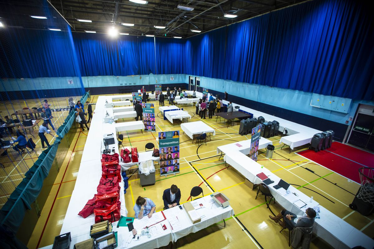 All ready for the count in the first island-wide election of deputies. (Picture by Peter Frankland, 29538178)