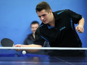 Ben Foss saved several match points in the third game of the Jack Carrington Trophy final before going on to win in five games. (Picture by Peter Frankland, 20861924)