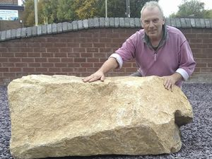 Sally Potter, who took the picture, arranged for a piece of Guernsey granite weighing a tonne to be shipped over for her husband Phil's 60th birthday.