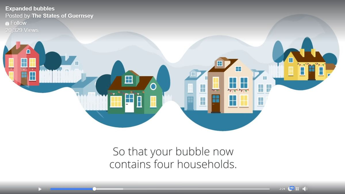 The States have released a video explaining the expansion of household bubbles as Guernsey progresses through lockdown exit strategy phases. (28289941)