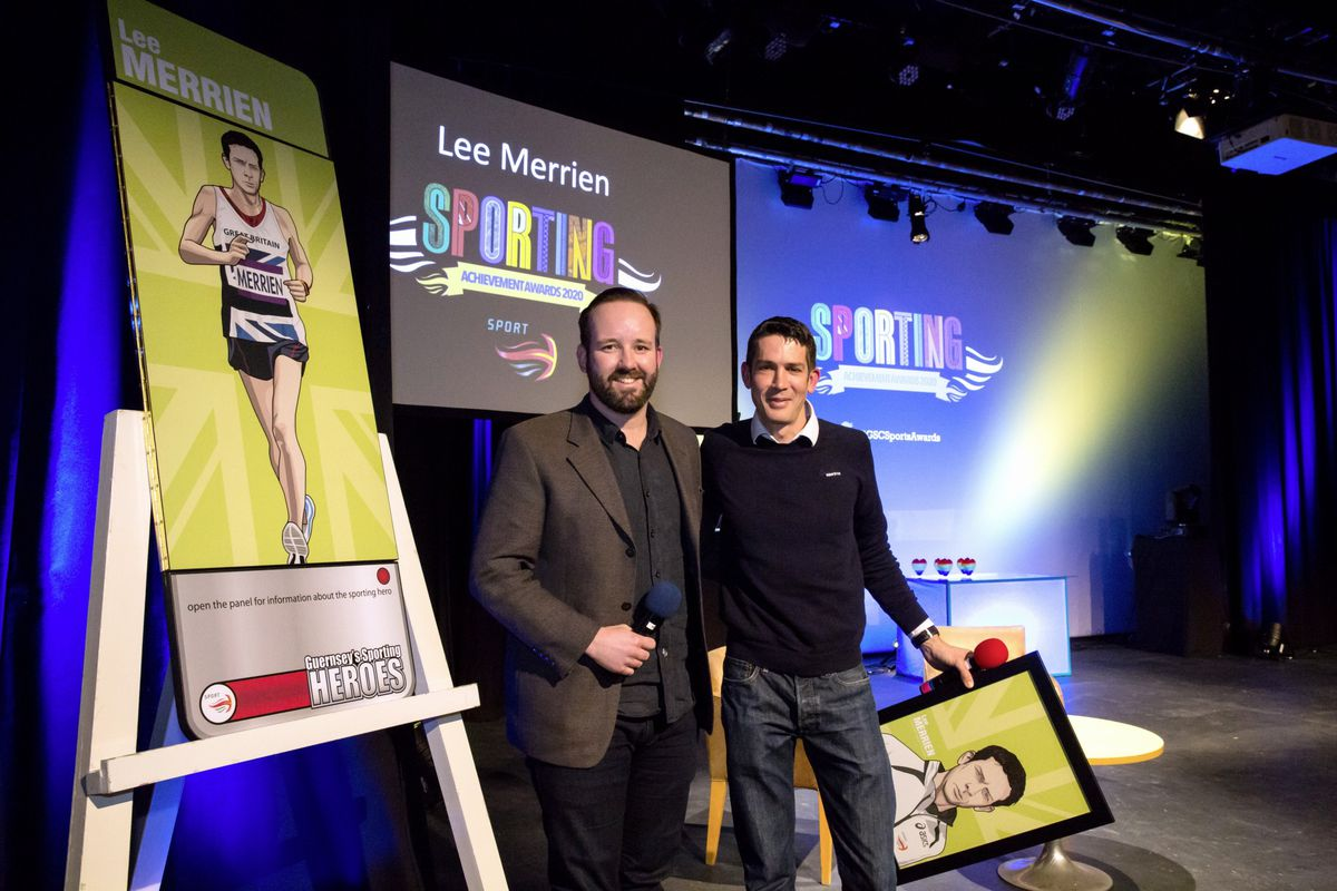 Pic by Adrian Miller 07-01-21 Beau Sejour theatre - Sporting Achievement Awards 2020 Lee Merrien has been entered into the Sporting Heroes hall of fame - Lee with Tony Curr (29090631)