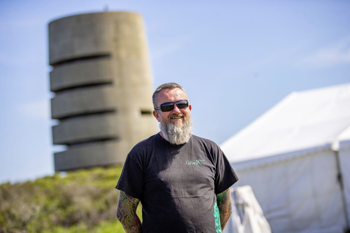 'Ozy' Chris Chadwick at the Chaos Festival site at Pleinmont. The organisers have been busy setting up tents and equipment since Sunday. (Picture by Sophie Rabey, 29688658)