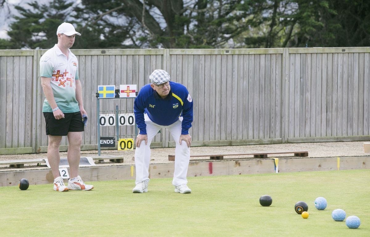 Todd Priaulx and his Swedish opponent await the next bowl into the head at Delancey yesterday. (Picture by Adrian Miller, 25860596)