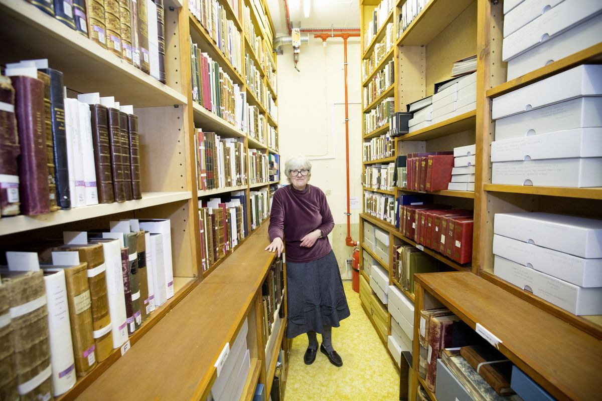 Chief librarian Sue Laker in the Priaulx's small strongroom, which has been tidied and its contents put away in a fashion which will allow items to last. (Pictures by Adrian Miller, 29412252)
