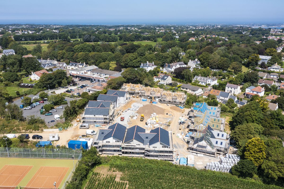 Le Menage, which will provide homes for older islanders, taking shape near Galeries du Manoir in St Martin's. (Drone image by Peter Frankland, 29833601)