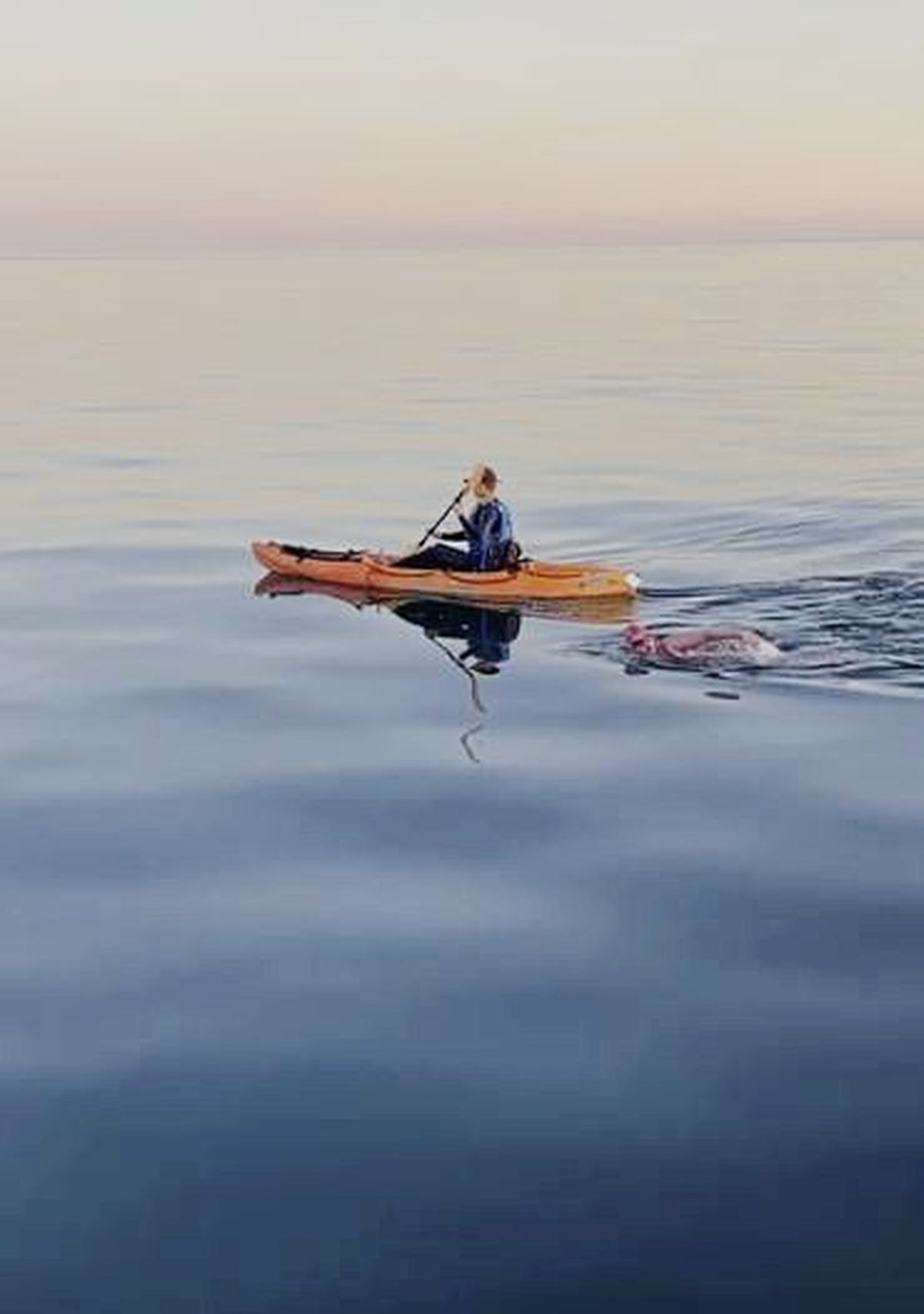 Amy Ennion's partner, Will, kayaked alongside her as she approached France, as the support boat had to stay back to avoid rocks. (29664721)