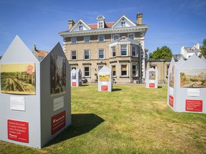 Displays in the grounds help boost awareness of the Priaulx Library. (Picture by Sophie Rabey, 28832233)