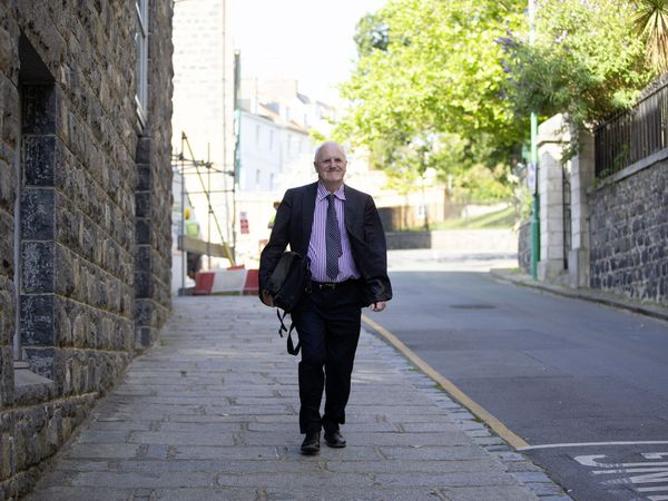 P&R president Peter Ferbrache arriving at the Royal Court for the Government Work Plan debate. (Picture by Cassidy Jones, 29785795)