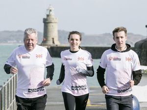 Help Guernsey win the Running World Cup launch. Left to right: Alun Williams, CI captain Sarah Mercier and Ryan Burling. (Picture by Adrian Miller, 27198828)