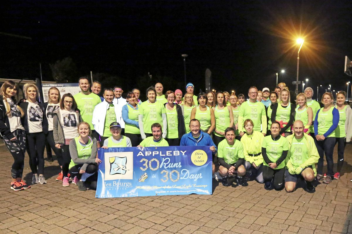 Participants in the final run of the 30 Run in 30 Days fundraising challenge at the Liberation Monument.(Picture by Steve Sarre, 22978946)