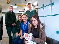 Mum thanks ambulance crew after speedy delivery