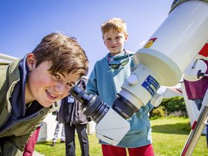 Picture by Sophie Rabey.  17-04-21.  Astronomy La Societe Guernesiaise - Solar Open Day.  Free event for all to come and view the 'nearest star', the Sun.  Brothers, Charlie Wilson (12) and Billy Wilson (9).. (29451035)
