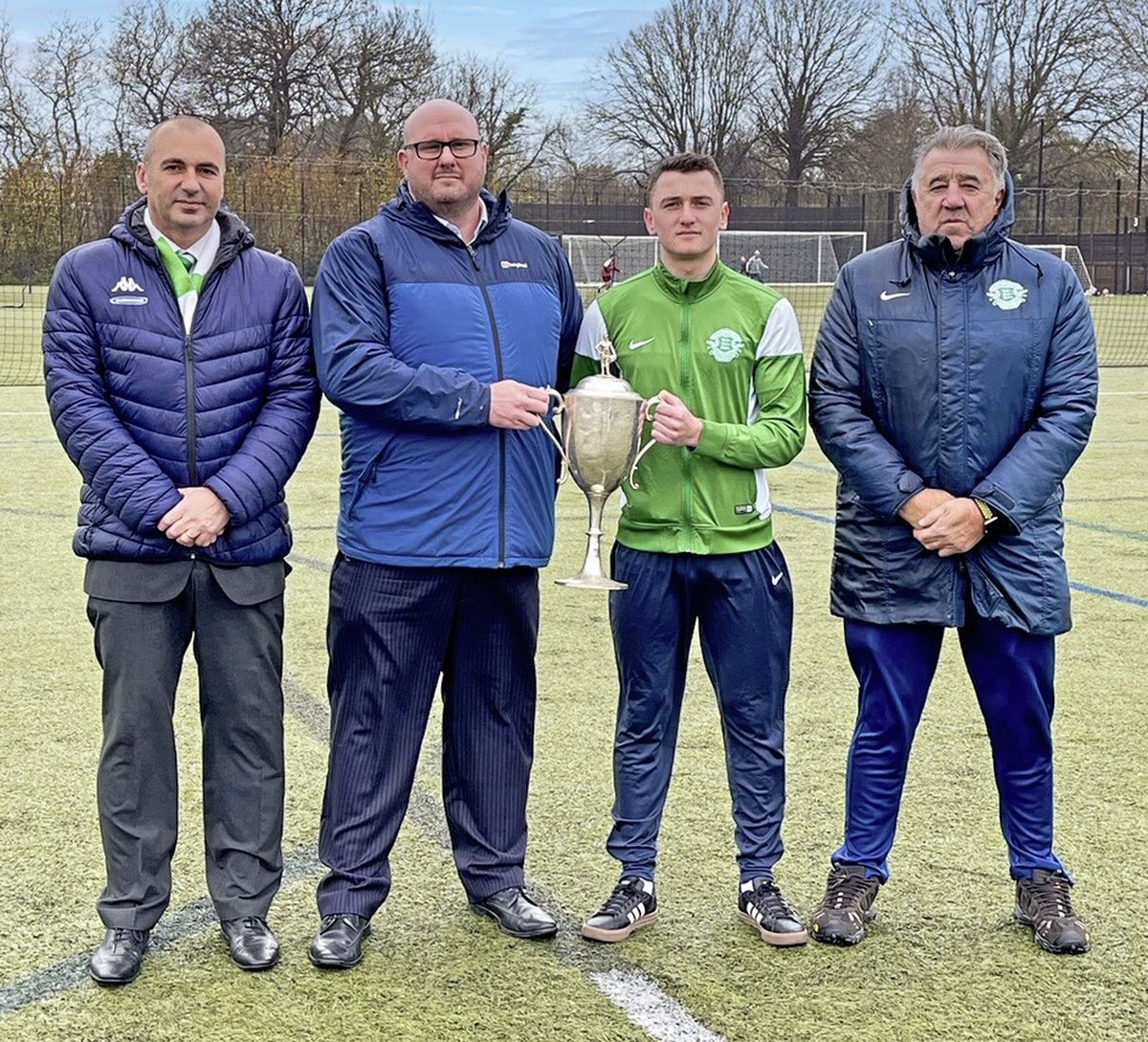 The Stranger Cup is being sponsored for the first time in its long history with Ross Gower backing the competition in the 2020-21 season. Left to right: James Falla (GFA director), Gareth Burchell (director, Ross Gower), Oscar Leadbeater (representing Guernsey U18s), Colin Fallaize (Guernsey U18s coach). (29083211)