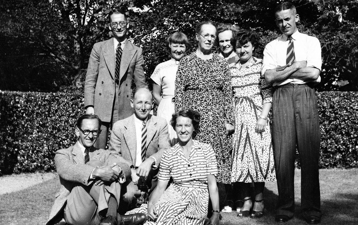 Collas Family, Summer 1945:back row from left: Peter Renouf Collas, Gaby Collas (née Cassel) (John's wife), Mary Alice Collas (née Bichard), Nora Kathleen Collas (née Turner) (Peter's wife), Eileen Collas (néeMahy) (Edward's wife), Edward Domaille Collas;front row from left: John Peter Collas, HughUrquhart Rose (Marion's husband), Marion Bichard Rose (née Collas). (29935288)
