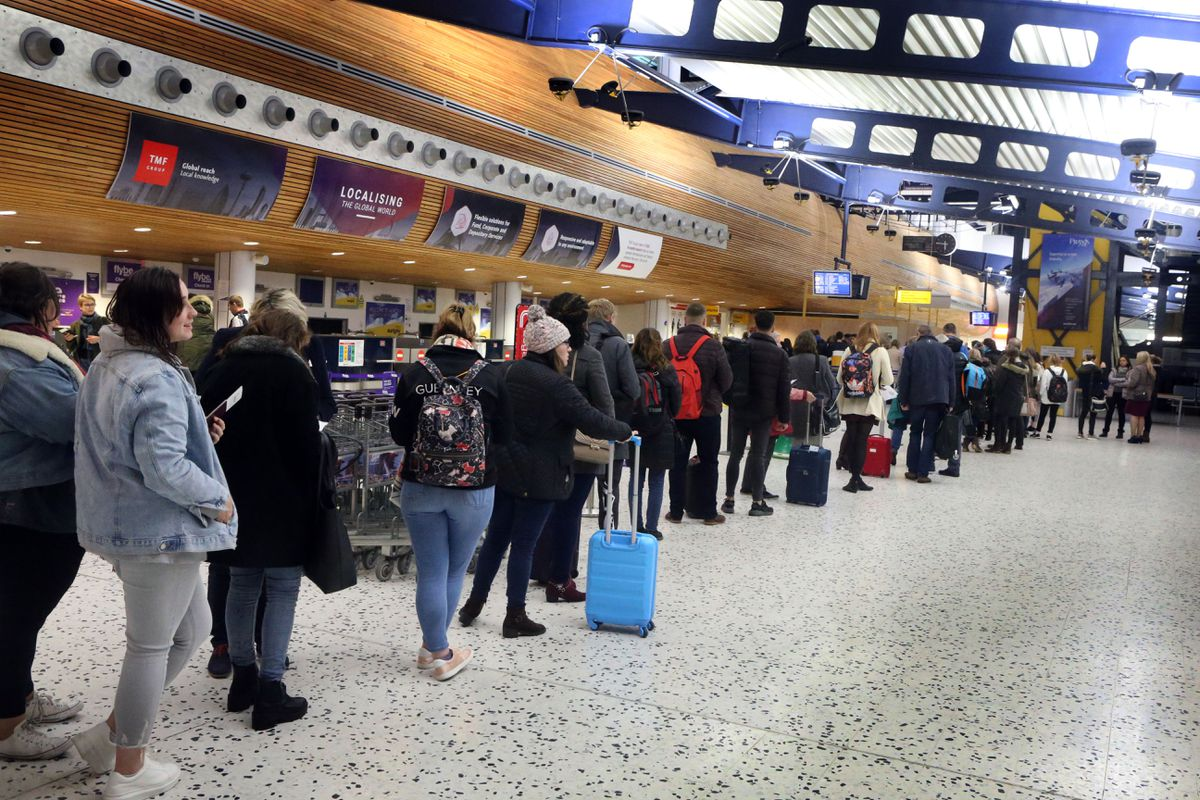 There were big queues at the airport when work was carried out to the duty free shop and security area in 2018. (28663664)