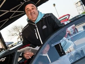 Pic supplied by Andrew Le Poidevin: 24-02-2018..The Guernsey Kart & Motor Club LBG Resolution-IT Guernsey Rally...Karl Marshall the GK&MC President swapped the organisers paperwork for track notes before navigating for Craig Robert in a Honda Civic.. (23924030)
