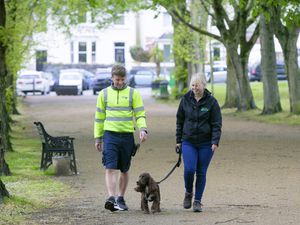 Pic by Adrian Miller 13-05-21 Cambridge Park. For DPS about dogs attaking posties feature. Anna Brehaut from Canine Behaviour Guernsey with dog Buddy and Postie Clint King.. (29544784)